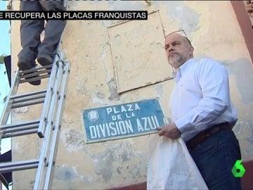 Colocación de una placa franquista en Alicante
