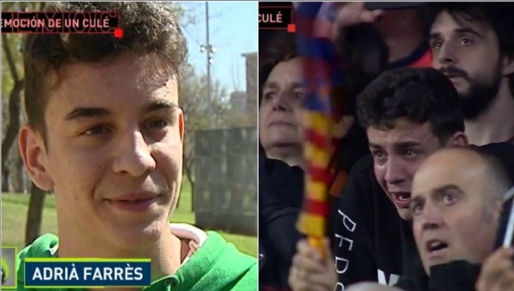 Adrià Farrès, el aficionado culé que lloró en la remontada del Barça