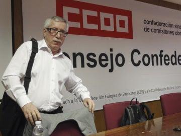 El secretario general de CCOO, Ignacio Fernández Toxo, a su llegada esta mañana a la reunión extraordinaria del Consejo Confederal del sindicato.