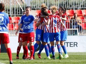 Las jugadoras del Atlético celebran un gol