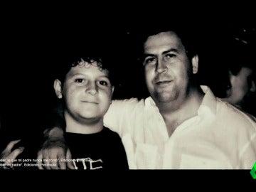Pablo Escobar junto a su hijo Juan Pablo Escobar, ahora Sebastián Marroquín