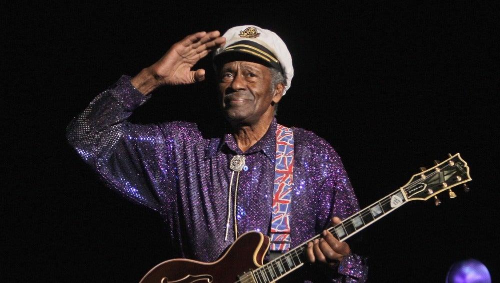 Chuck Berry durante su actuación en 'Les Legendes Du Rock and Roll' (2008)