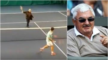 Robert Federer da un pelotazo a su hijo Roger