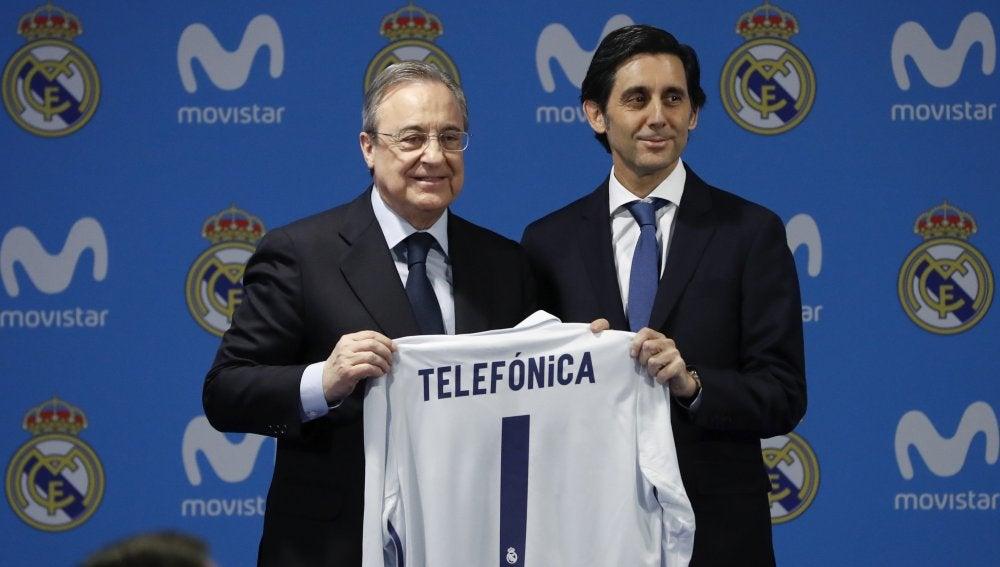 Florentino Pérez con el máximo mandatario de Telefónica