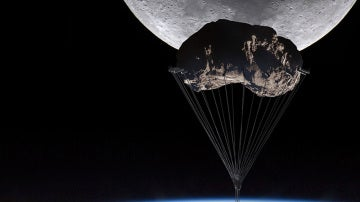 Concepto de rascacielos colgado de un asteroide
