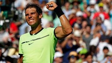 Rafa Nadal celebra su victoria en el Open de Miami