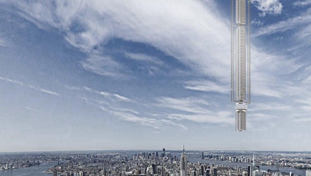 Rascacielos colgante desde un asteroide