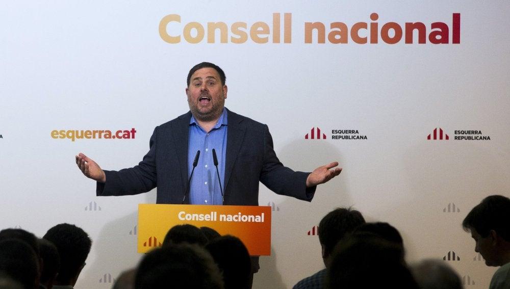 Oriol Junqueras durante su intervención en la reunión del Consell Nacional celebrada en Barcelona