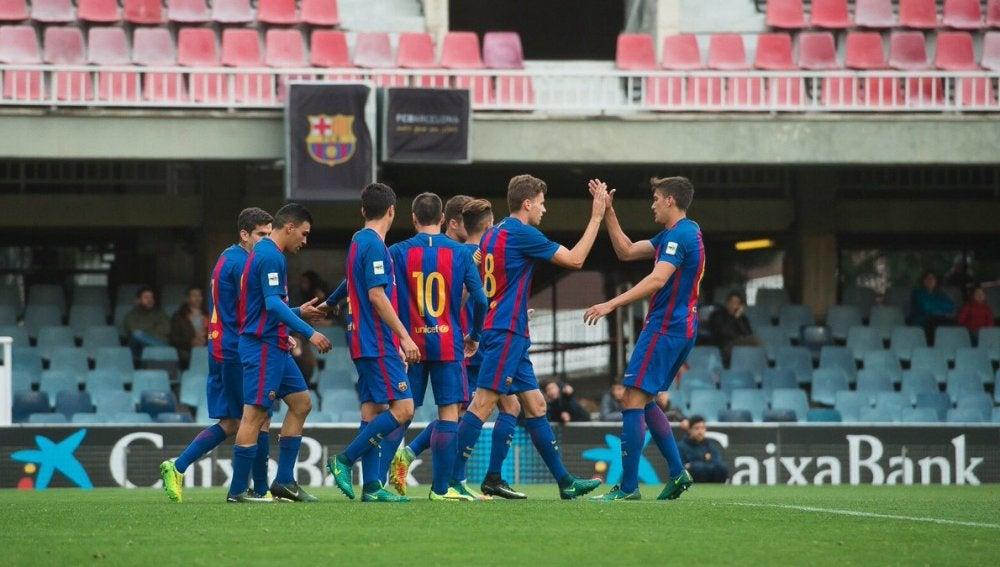 Los jugadores del Barça B celebrando uno de los goles