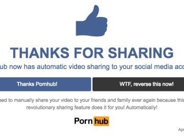 Mensaje de Pornhub por el April Fool's Day