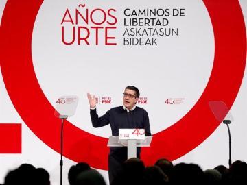 Patxi López, durante el acto de celebración del 40 aniversario de los socialistas vascos