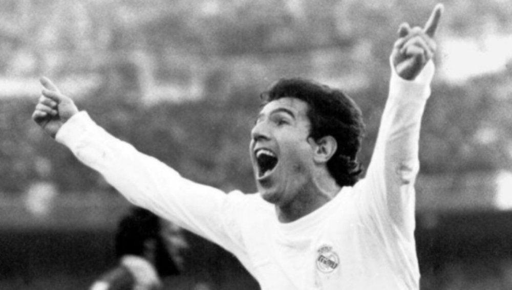 'Juanito' celebra un gol con el Real Madrid