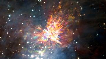Fuegos artificiales por la colision de dos jovenes estrellas
