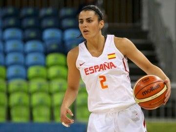 Leticia Romero, durante un partido con España