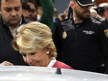 Esperanza Aguirre, a la salida de la Audiencia Nacional