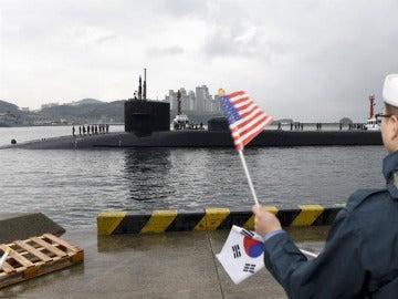 El submarino USS Michigan en Corea del Sur