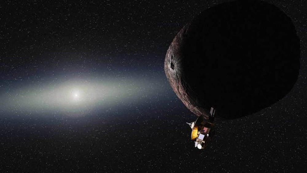 Representación artística de la sonda New Horizons sobrevolando el objeto 2014 MU69
