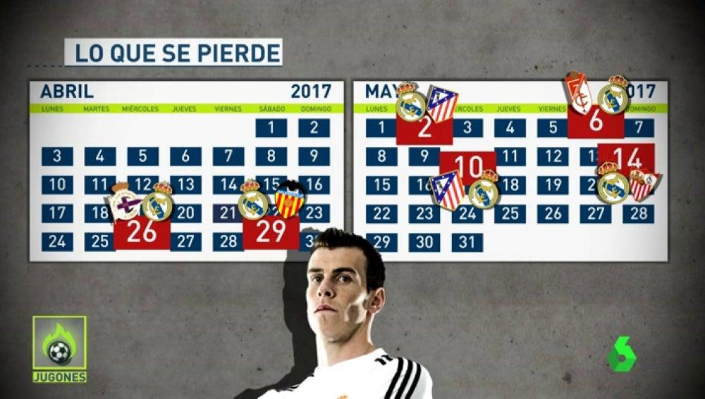 Frame 5.705714 de: ¿Qué partidos se perderá Gareth Bale por su lesión en el sóleo?