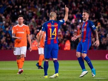 Mascherano celebrando su primer gol con el Barça