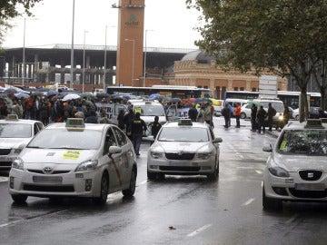 Taxistas en una concentración en Madrid (Archivo)