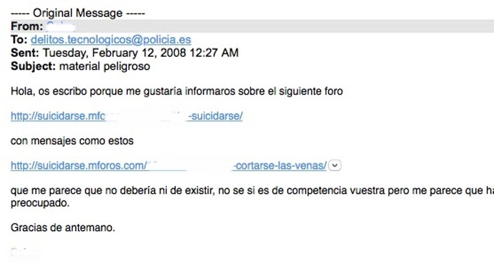 Captura de un reporte ciudadano del año 2008