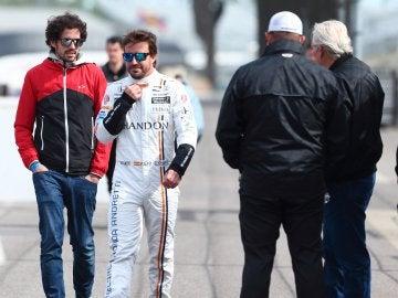 Fernando Alonso, en el trazado de Indianápolis