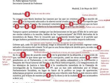 Faltas de ortografía en la carta de Javier Fernández