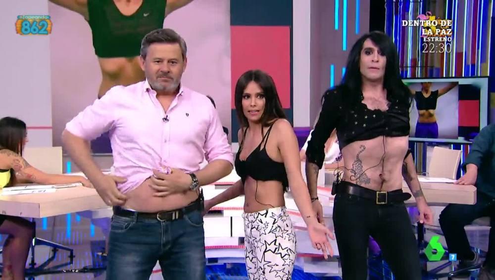 Cristina Pedroche hace hipopresivos con Miki Nadal y Mario Vaquerizo
