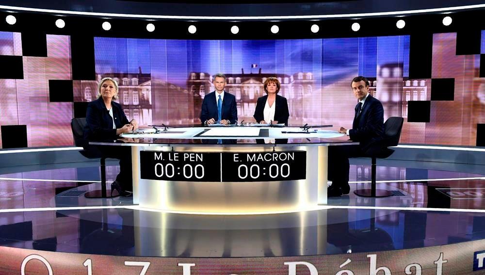 Debate entre Le Pen y Macron