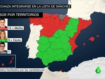 El PSOE, por territorios