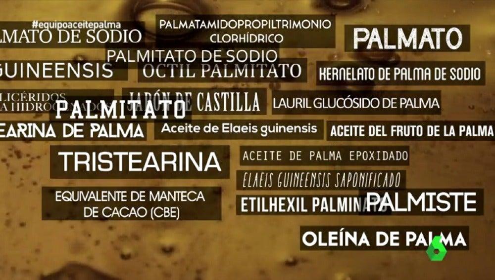Términos que significa aceite de palma