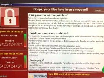 Mensaje que apareció en los ordenadores por el hackeo