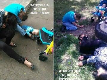 Los padres tirados en el suelo junto a su bebé