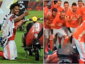 Eliseu, protagonista en la fiesta del Benfica por su Vespa