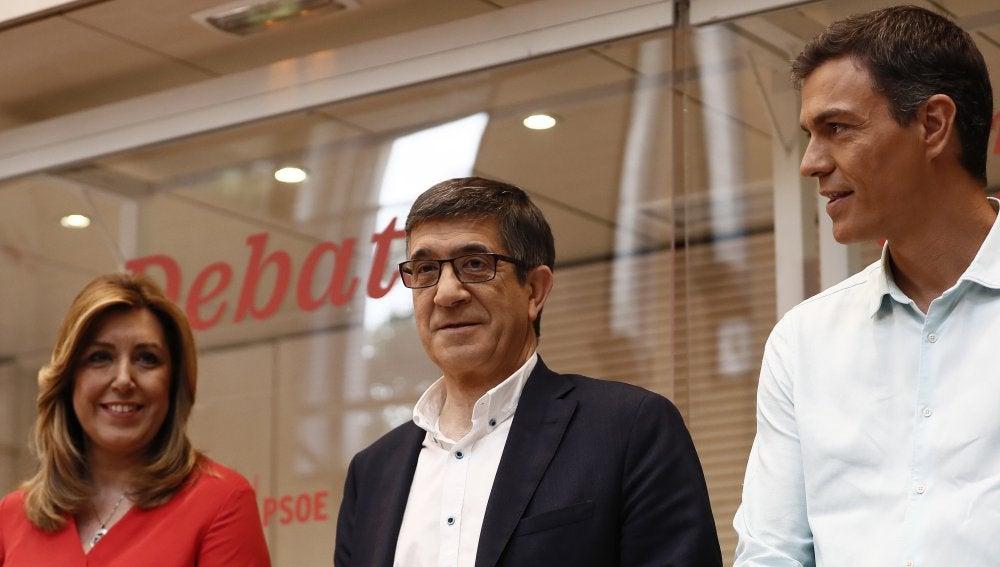 Los candidatos a la Secretaría General del PSOE, Susana Díaz , Patxi López y Pedro Sánchez