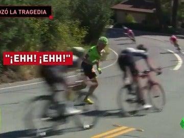 Frame 40.417505 de: Se rozó la tragedia: La odisea de un ciclista grogui por intentar volver a carrera tras una brutal caída