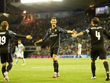 Cristiano Ronaldo celebra un gol en Balaídos ante el Celta