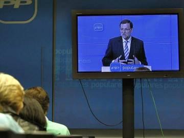 Mariano Rajoy en una comparecencia por plasma
