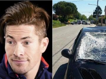 El piloto Nicky Hayden y el aspecto de cómo quedó el vehículo que le atropelló en Italia