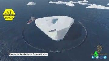 Imagen del plan de remolque de iceberg ideado por Emiratos Árabes