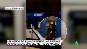 Frame 3.703789 de: Un joven de 13 años pierde las dos piernas tras ser arrollado por el metro de Madrid