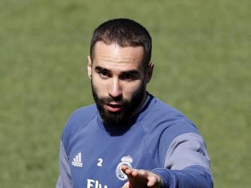 Dani Carvajal, en un entrenamiento con el Real Madrid