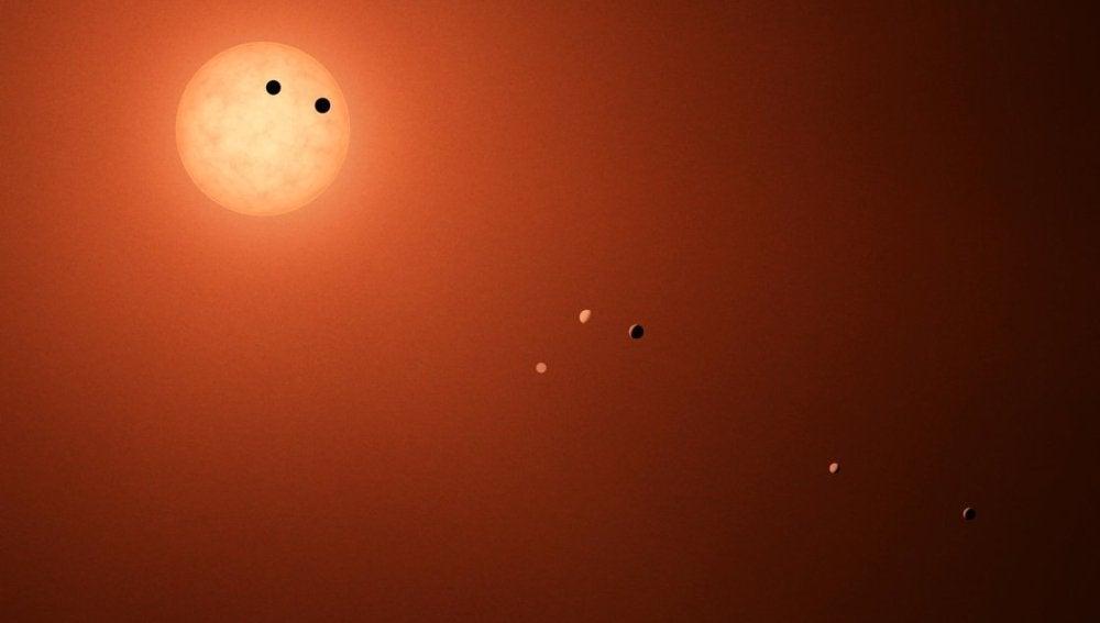 Recreación artística del sistema TRAPPIST-1