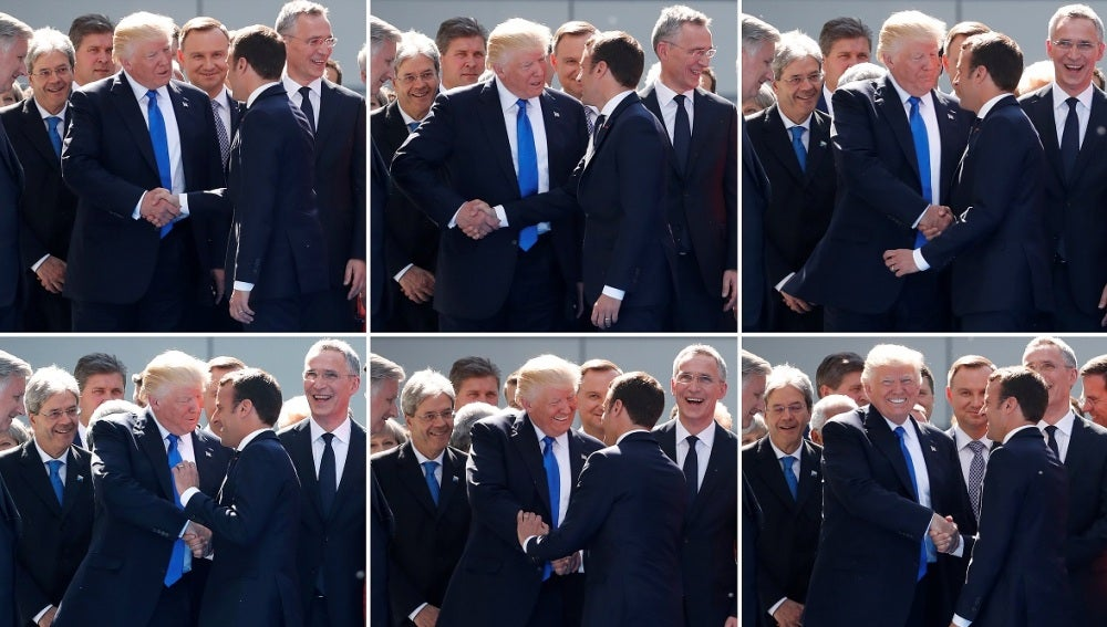 El apretón de manos entre Trump y Macron