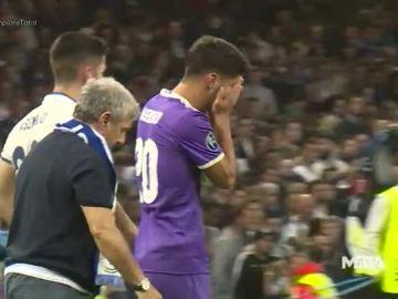 Marco Asensio, llorando