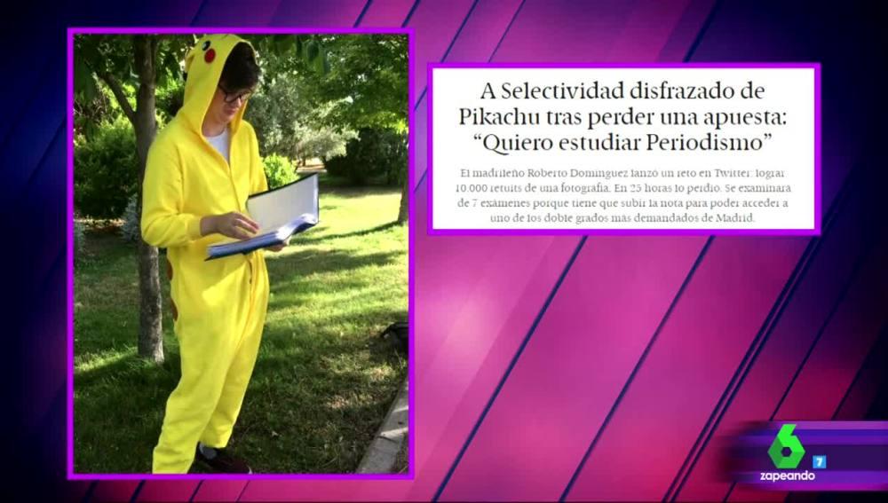 Se presenta a Selectividad disfrazado de Pikachu tras superar un reto en Twitter