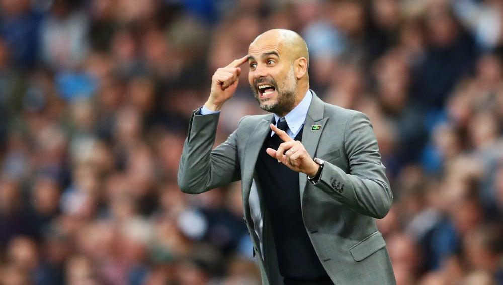 Pep Guardiola, en un partido del Manchester City