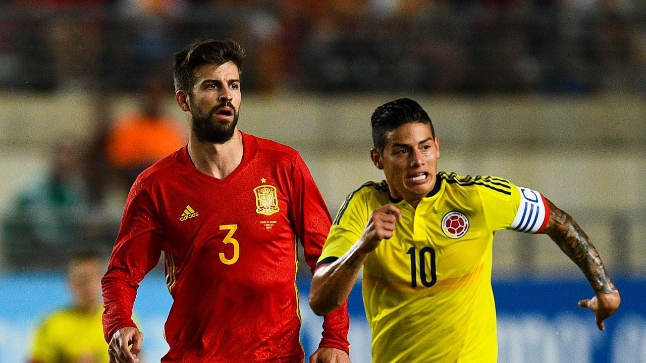 Piqué, en el partido ante Colombia en Murcia