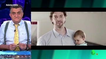 """Frame 64.593283 de: Wyoming tranquiliza a los que dejaron su bebé al Banco Popular animados por Gasol: """"Los podéis recoger en el Santander"""""""