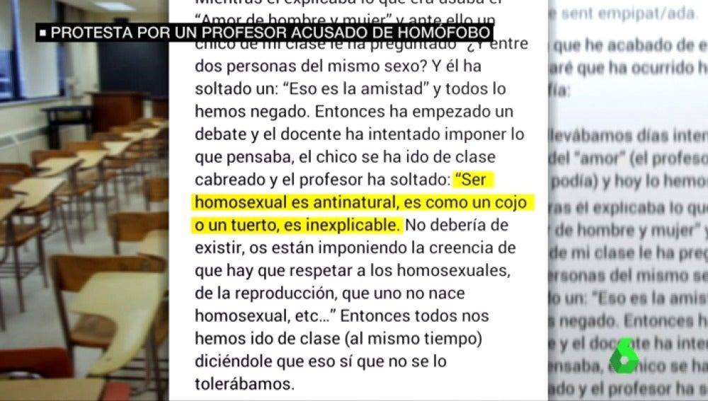 Protesta contra un profesor por comentarios homófobos